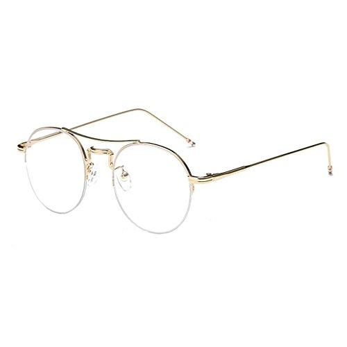 Xinvision Damen Herren Kurzsichtig Gläser,Mode Metall Hälfte Dünn Rahmen Kurzsichtigkeit Myopia Brillen Kurzsicht Entfernung Brille -1.0~-6.0 (Diese sind nicht Lesen Brille)