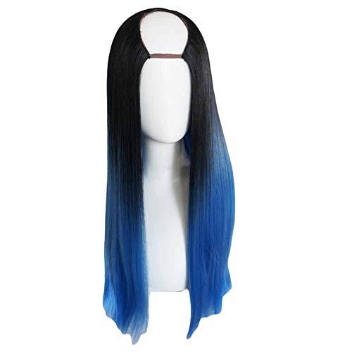Noir/Bleu 65 cm en U 2 cosplay perruque Full Tone longue perruque cheveux raides
