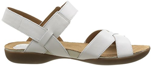 Clarks Raffi Flower, Sandali donna Bianco (Weiß (White Leather))