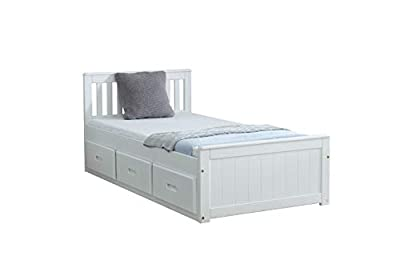 Mission Captains Storage Bed 3FT Single in White Pine