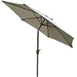 Grand 2 m, 2,7 m ou 3 m en métal manivelle et inclinaison jardin Parasol - 10 Couleurs 3 tailles (2 m, gris clair)