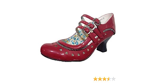 9131915ffb5c54 Destiny Shoes DS-07 Womens RED Round Toes Patent Mid Heels Mary Jane Court  Shoes UK 8: Amazon.co.uk: Shoes & Bags