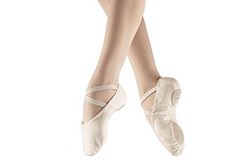 Bloch tela split suola pompe di scarpe da ballerina classica, danza, danza abbigliamento, signore, ragazze-rosa (White pompa 2.5C)