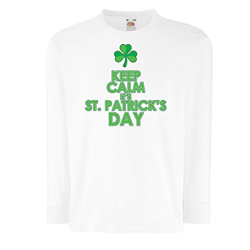 bambini-t-shirt-con-maniche-lunghe-keep-calm-its-st-patrick-day-3-4-years-bianco-multicolore