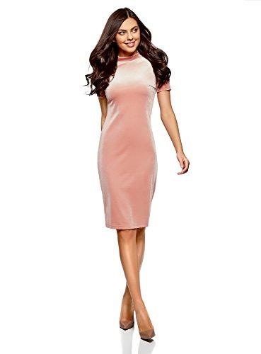 oodji Ultra Damen Enges Samt-Kleid, Rosa, DE 42 / EU 44 / XL (Kleine Kleid Samt-rosa)