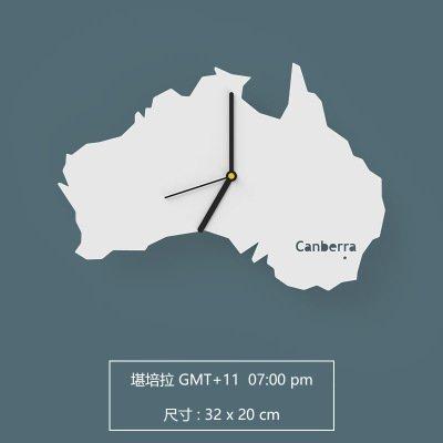 Jedfild Nordic Einfache und Moderne Wohnzimmer Persönlichkeit Kreative Kunst Mute Startseite Weltkarte Wanduhr, 12 Zoll, Australien - Canberra [Weiß] (Eisen-weltkarte-wand-kunst)