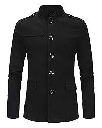Kasen Herren Einfarbig Button Lange Ärmel Stehkragen Sakko Blazer Anzug Mantel Jacke Schwarz XL