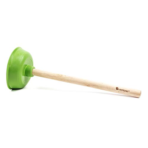 Lantelme Toilette Saugglocke Pömpel Pümpel WC Haushalt Holzstiel 40 cm Lang Gummistampfer grün 3978
