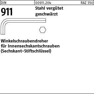 DIN 911 Stahl vergütet geschwärzt Winkelschraubendreher für Innensechskantschrauben - Abmessung: SW 22 (1 Stück)