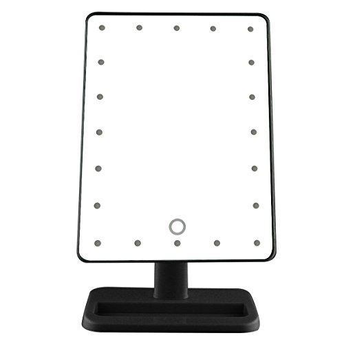 Kosmetikspiegel mit LED beleuchtung, Kfnire Großbildschirm beleuchtete Eitelkeit Kosmetik Make-up Spiegel (Schwarz)