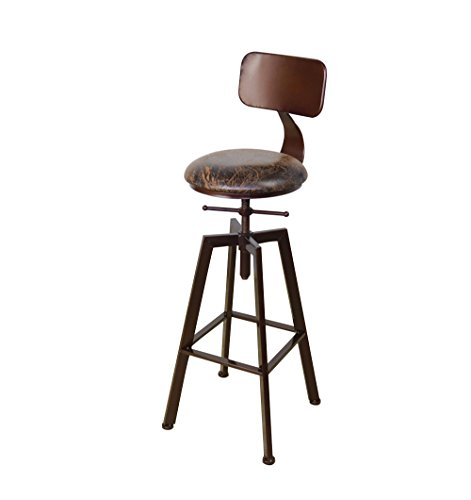 Bar Tabouret American Iron Bar Bar Chaise Tabouret de Bar en Bois Massif Retro Design Industriel Rotatif Chaise Haute Chaise à Manger Trois Couleurs en Option (33 * 30 * 60) cm (Couleur : A)