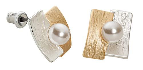 Perlkönig | Damen Frauen | Ohrringe Set | Ear Cuffs | Perle auf Gold Silber Farben | Bicolor | Ohrstecker |Nickelfrei (Gold Ohrstecker Perle Und)