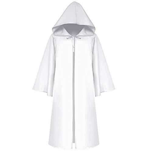 Grim White Kostüm Reaper - Jeune Lueur Halloween Umhang Mittelalter Kapuzenmantel Sensenmann Kostüm Phantom Kostüm Erwachsene Kinder Schwarz Gr. 90, Adults White