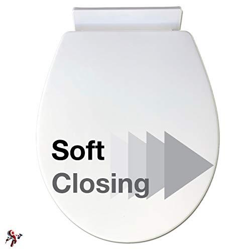 Copriwater universale in plastica con chiusura ammortizzata soft close colore bianco