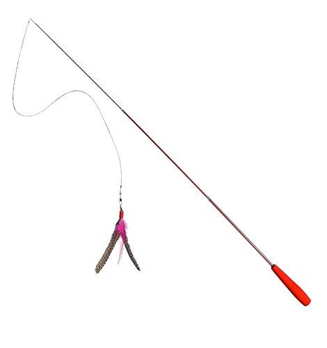 Interaktive zaBird Katzenangel inkl. einem Perlhuhn Federanhänger (natur)