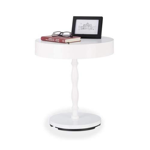 Relaxdays Beistelltisch mit Deckel, Nachttisch, Ablagetisch, rundes Fach, gedrechseltes Bein, HBT 50x45,5x45,5 cm, weiß (Tv-fach Runde Tisch)