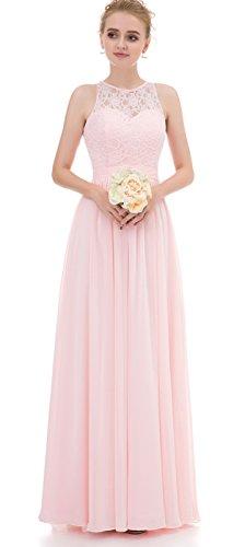 Brautjungfernkleider Ballkleider A-Linie Lang Abendkleid Chiffon Hochzeitskleid elegant Spitze Abendkleider Rosa 36 (Abendkleid Chiffon A-linie)