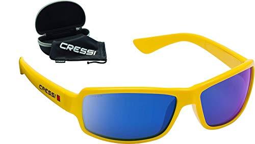 Cressi Unisex Ninja Floating Sunglasses Ultra Flexible Erwachsene Sonnenbrille Schwimmend Polarisierte 100% UV-Schutz, Gelb-Gespiegelte Linsen Blau, Eine Eine Größe