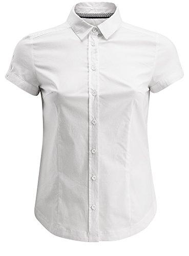 oodji Ultra Damen Kurzarm-Bluse Basic, Weiß, DE 36 / EU 38 / S