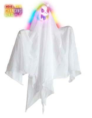 HAAC hängender Geist weiß weiss mit Led Licht Farbwechsel 50 cm für Halloween Horror Party Farsching Karneval