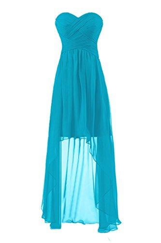 Sunvary Damen Herzform Chiffon Falte Hi-Lo Cocltailkleid Partykleid Abendmode Hellblau