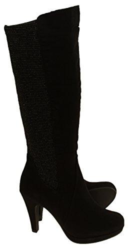 Marco Tozzi Femmes Bottes hautes en stretch Peigne noir