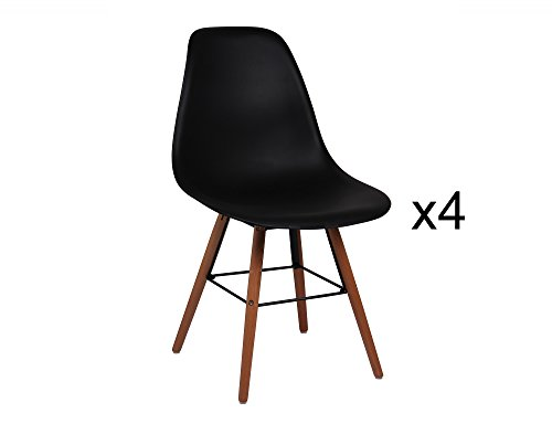 Mobilier Deco Lot de 4 chaises Scandinave Noir Oslo