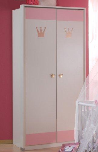 Wimex Kleiderschrank Cinderella 304179, Weiß, Abs. Rosé, 95 cm Breite