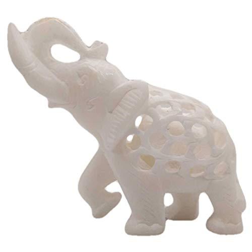 India Meets India Handgeschnitzter Elefant aus Marmor, natürliches Finish, 10,2 x 12,7 cm, handgefertigt von ausgezeichnet indischen Kunsthandwerkern -