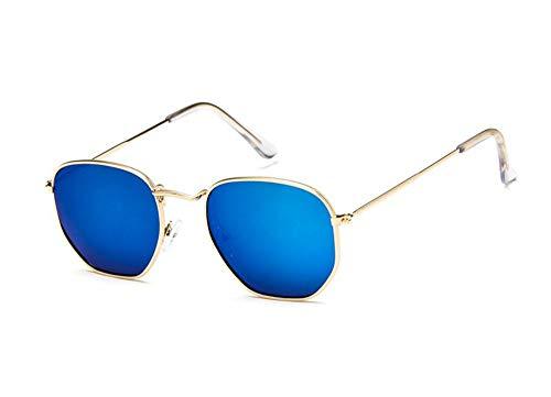 MJDABAOFA Sonnenbrillen Vintage Sechskant Blau Sonnenbrille Frauen Männer Fashion Retro Rückspiegel Sonnenbrille Weiblich Männlich Uv400