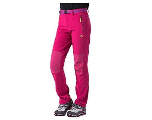 Tofern Femmes Pantalon Outdoor Pantalon Softshell Pantalon Randonnées Antipluie Hautement élastique Hiver Automne Ressort pour Camping Randonnées XS/ S/ M/ L/ XL - RosenRouge L