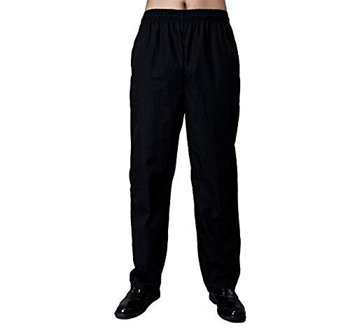 Nanxson Unisex Herren Damen Arbeitshose Kochhose Hotel Hose mit elastischer Taille CFM2008- (Schwarz, Taille: 67-90 cm)