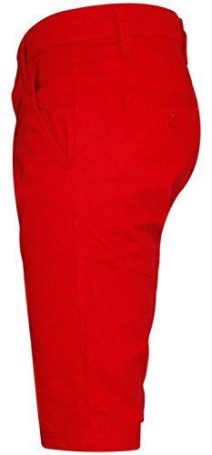 New Mens Designer Kushiro Slim Fit Twill Chino Cotton Three Quarter Chinos Shorts Red