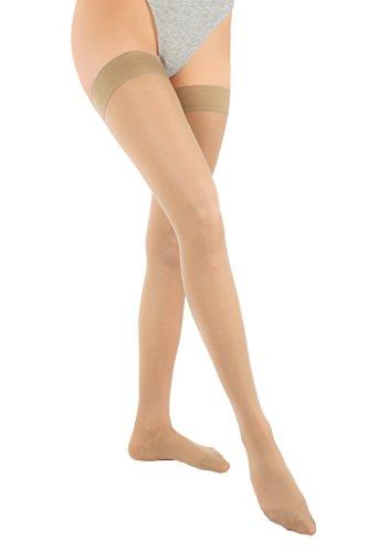®BeFit24 Leichte abgestufte medizinische Kompressionsstrümpfe (10-18 mmHg, 70 Den) für Damen und Herren - Stützstrümpfe hervorragend geeignet gegen geschwollene Beine und Krampfadern, Prävention gegen Besenreiser und für eine bessere Durchblutung - Medical Compression Stockings - Beige (Leichte - Orange-streifen)