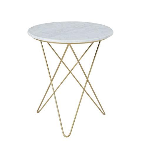 DYFYMXBeistelltisch Beistelltisch Marmor Tischplatte Metallrahmen Wohnzimmer Sofa Schlafzimmer Nacht Begleiter (Farbe : Gold, größe : S)