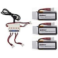 Togather® UDI U818A-WIFI U845 U845-WIFI RC Quadrocopter Ersatzteile 3PCS 3.7V 350mAh Batterien + 3 in 1 Ladegerät + 3PCS Ladekabel Ersatz für Drohne