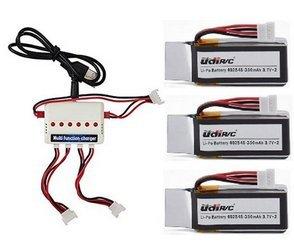 Togather® UDI U818A-WIFI U845 U845-WIFI RC Quadcopter Ersatzteile 3Pcs 3,7V 350mAh Akku + 3 in 1 Ladegerät + 3PCS Ladekabel Ersatz für Drone