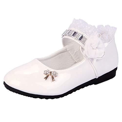 KINJOHI Mädchen Pricess Schuhe Casual Single Leder Perlen Party Kleid Flache Schuhe Low Heels Wanderschuhe Shool Schuhe
