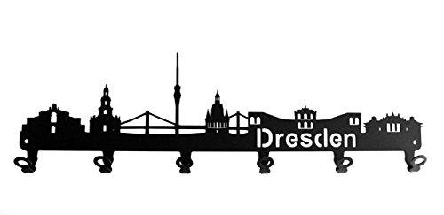steelprint.de Wandgarderobe - Skyline Dresden - Flurgarderobe - Sachsen - Kleiderhaken, Hakenleiste, Garderobeneiste, Garderobenhalter, Garderobe - Metall, Schwarz