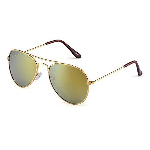 Kinder Spiegel Flieger Sonnenbrille Blitz Getönt Kind Brille Gläser Mädchen Jungen Alter 3-12(Gold/Spiegel Gold)