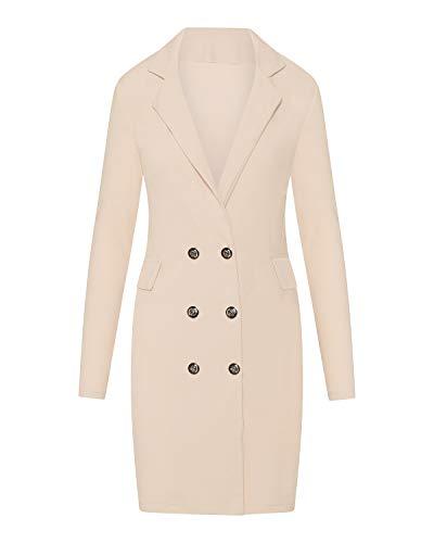 Kendindza Damen-Jacke | Mantel | Abend-Blazer mit Knöpfe (Beige, L) Beige Damen-jacke