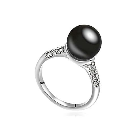 AMDXD Bijoux Plaqué Or Bagues de Fiançailles pour Femme Eau douce UniquePerle Ballon Noir Taille 56.5