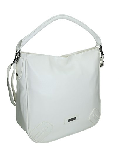 Handtasche Schultertasche Umhängetasche mit Reißverschluss, Schulterriemen und Henkel Farbe schwarz weiß