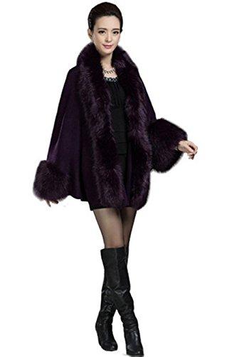 PLAER Femmes Mode Faux luxe en fourrure de renard Wrap Châle chaud Cap Manteau Cape cape en tricot Violet
