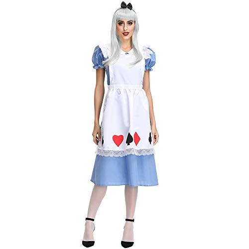 Leoie Damen Alice Cosplay Kostüm Halloween Kleid Maid Kleid für Bayern Oktoberfest Karneval Gr. Medium, - Charmante Alice Kostüm