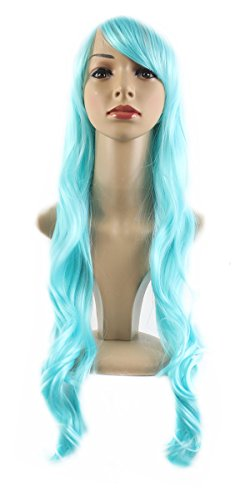 """Xiaoyu 22 """"80cm flequillo oblicuo pelo rizado largo cosplay traje de fiesta de las mujeres pelucas - cielo azul"""