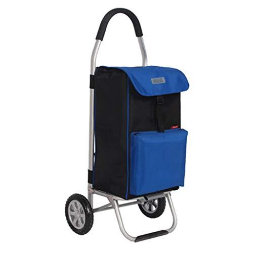 Royal Blue Walker (XINGPING-HOME Tragbarer Einkaufswagen aus hochwertiger Aluminiumlegierung zum Kaufen von Speisen, Gepäck, kleinem Wagen, Frischhaltefunktion (Farbe : Royal Blue))