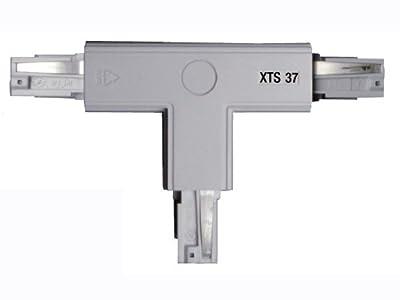GlobalTrac 3-Phasenstromschiene T-Kupplung Schutzleiter oben / rechts XTS37 grau silbergrau