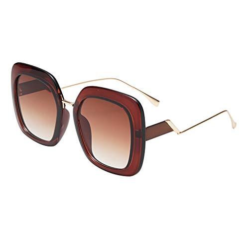 EUCoo Sonnenbrille Retro PersöNlichkeit Modell StraßE SchießEn Brille GroßEn Rahmen Metall Sonnenblende Strandspiegel (B)