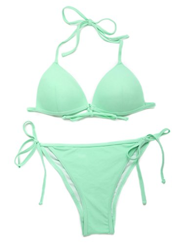 RELLECIGA Damen Bademode Triangel Bikini Unterteil im Brasil-Style Menthol Grün L - 3